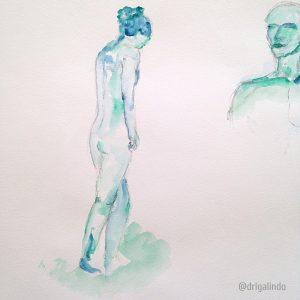 lápis e aquarela