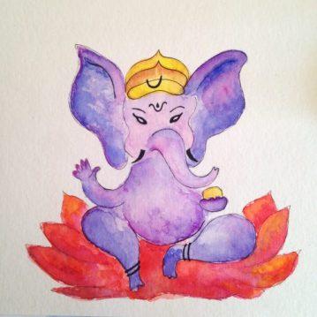 Ganesha, aquarela s/ papel 14 x 14 cm. Disponível
