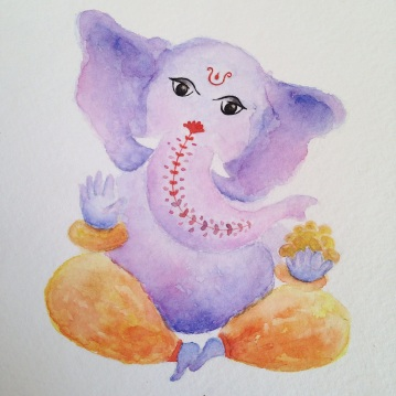 Ganesha, aquarela s/ papel 18 x 13 cm. Sold