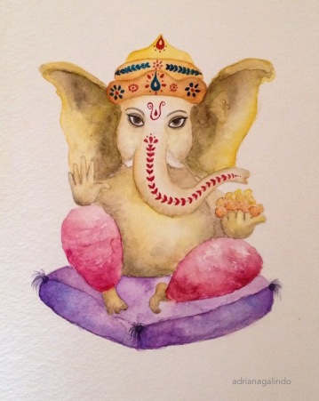 Ganesha, aquarela sobre papel, 21 x 15cm. Sold