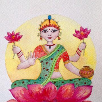 Lakshmi, aquarela s/ papel, 18,5 x 13,5 cm. Sold