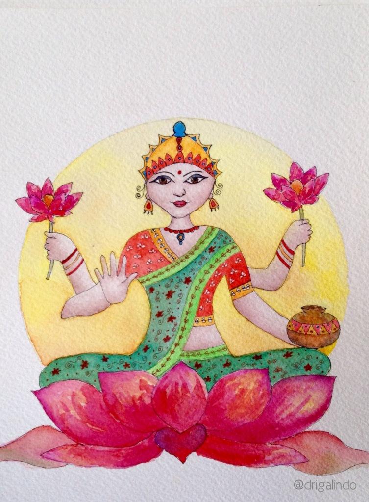 Lakshmi, aquarela 18,5 x13,5 cm