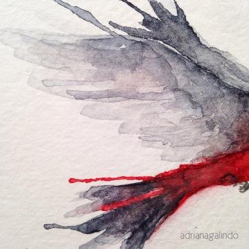 Detalhe. Tiê-sangue, aquarela, 2014. Sold