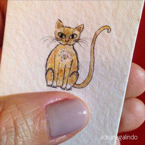 Gato, aquarela sobre papel, miniatura - DISPONÍVEL