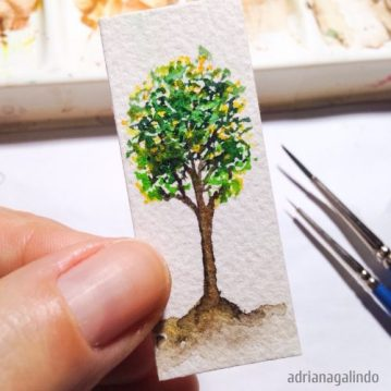 18 Árvore 18, miniatura aquarela / Tree 18, miniature watercolor.5,40 x 2,20 cm. Available