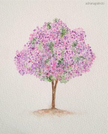 8 Manacá-da-Serra, tree 8, 21 x 15cm. SOLD