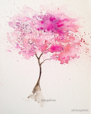 2 Pink tree, tree 2, 21 x 15 cm. Sold - adrianagalindo