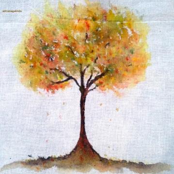15 Tree 15, Acrílica sobre algodão cru, 11 x 11 cm. Sold