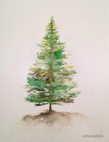 5 Pine, tree 5, 21 x 15 cm. Sold