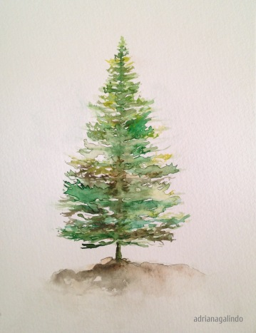 Pine, tree 5, 21 x 15 cm. Sold