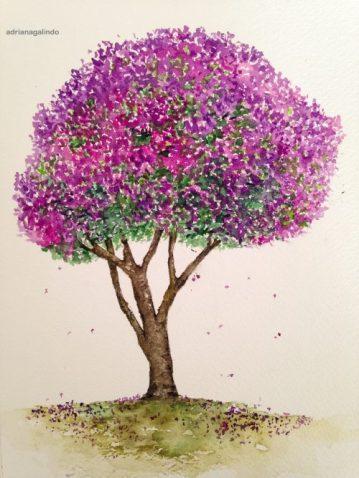 17 Quaresmeira, tree 17, 21 x 15cm. Sold