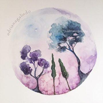 30 Árvore 30, Tree 30, aquarela , watercolor, Available