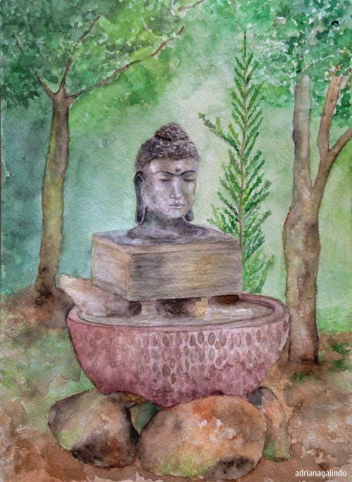 Buda, aquarela, 30,,5 x 22,9 cm. Available