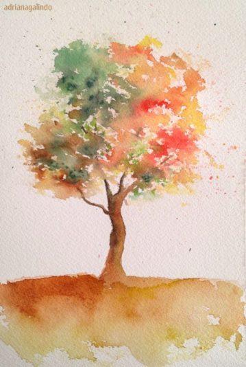 1 Autumn, Outono, tree 1, 21 x 15 cm. Sold