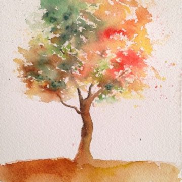1 Autumn, Outono, tree 1, 21 x 15 cm. Sold