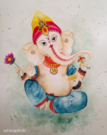 """Lord Ganesha"" Watercolor / aquarela 30,5 x 22,9 cm. Sold"
