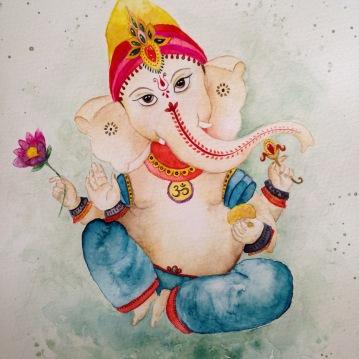 """Lord Ganesha"" Watercolor / aquarela 30,5 x 22,9 cm. Sold"