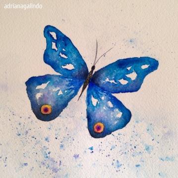 Borboleta Azul, 14,8 x 21 cm. Sold