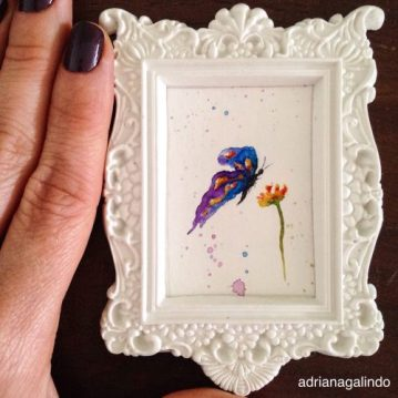 Amor em miniatura, aquarela emoldurada, sold