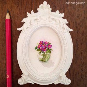 Amor em miniatura, aquarela emoldurada, disponível /available