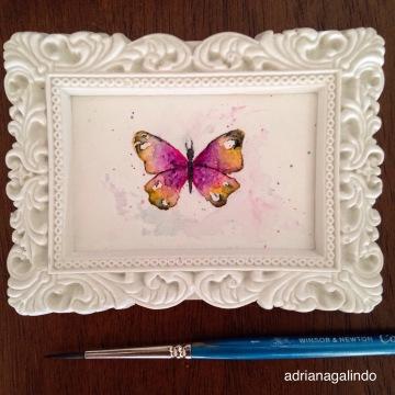 Amor em miniatura, aquarela emoldurada, 4×6.5cm 🎨 sold