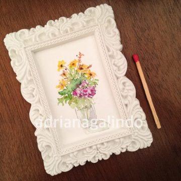 Amor em miniatura, aquarela emoldurada 🎨