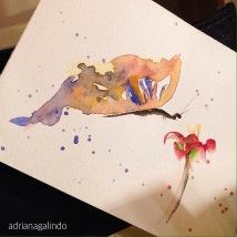 Amor em miniatura, aquarela emoldurada 🎨 sob encomenda