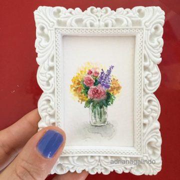 Amor em miniatura, aquarela emoldurada 🎨 Vendido/sold