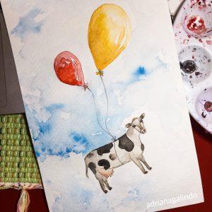 Cow, Watercolor / aquarela 21 x 15 cm. Available / disponíve