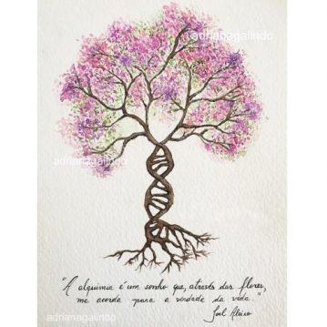 27 Life tree, tree 27 watercolor aquarela, 15 x 21cm . Sold