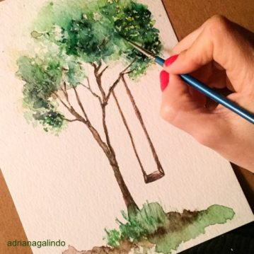 28 Árvore 28 tree 28, aquarela, watercolor , 15 x 21 cm. Sold.