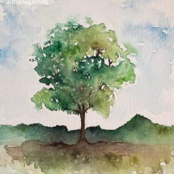 31 Árvore 31, Tree 31, watercolor, aquarela. SOLD