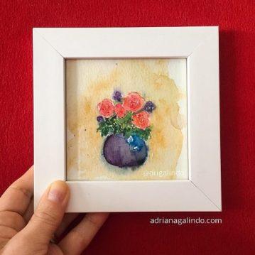 Amor em miniatura, aquarela emoldurada 🎨 disponivel